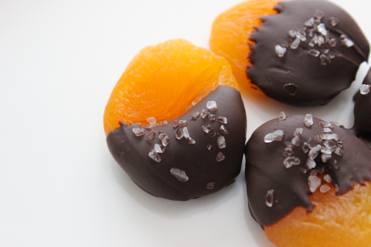 Chocolate Dipped Apricots with Sea Salt