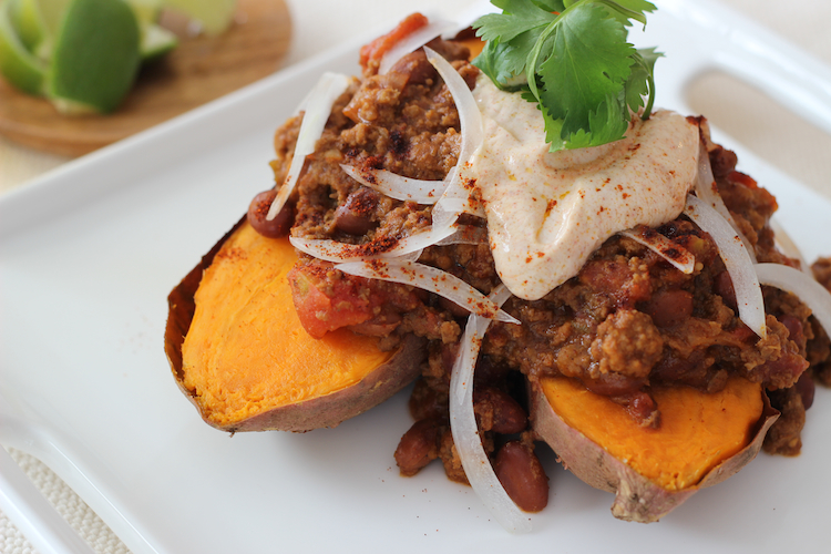 Baked sweet potatoes as a base to chili is an excellent way to increase plant foods in your diet