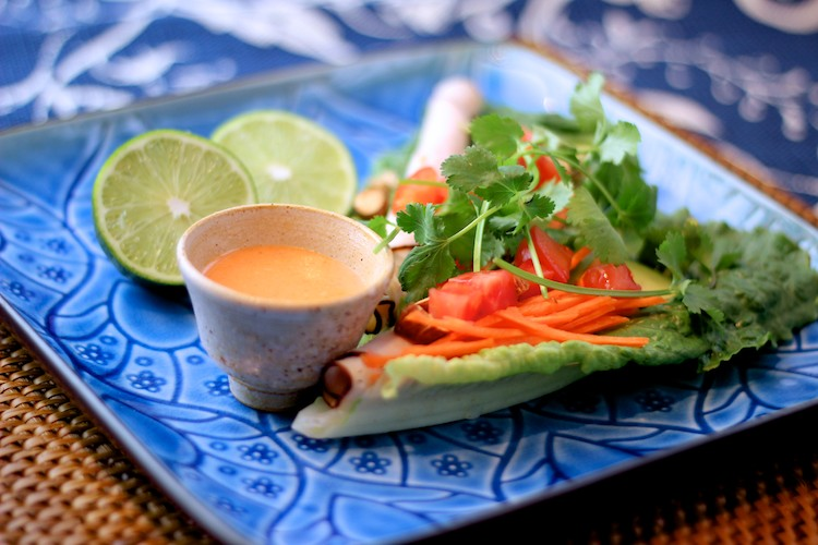 Lettuce Sleds with Lime Sriracha Dressing